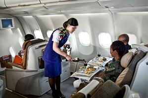 FlightAttendantServingCouple_A330-200resize